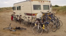 Sally, our trusty RV and all our bikes